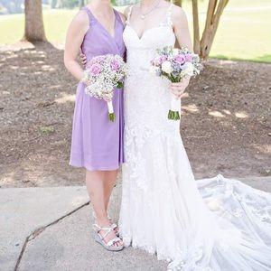 Lace back David's Bridal bridesmaid dress